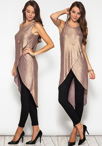 Stay Up Late Tunic in Rosegold