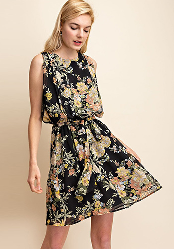 Daily Picked Dress in Black/Yellow