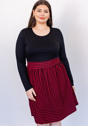 Social Studies Dress in Burgundy - PLUS