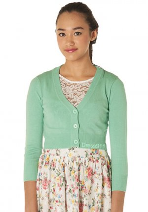 Sugar Drop Crop Cardi in Opal Green