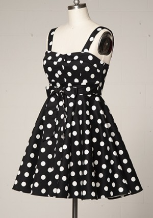 Dolly Dress in Black with White Dots