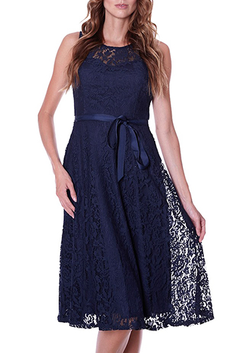 Royal Visitor Dress in Midnight Blue