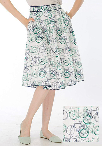 APRIL: Bicyclette Skirt in Navy/Green