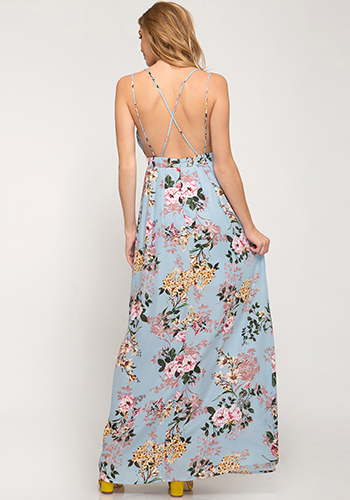 Summer Scent Maxi Dress in Blue - Click Image to Close