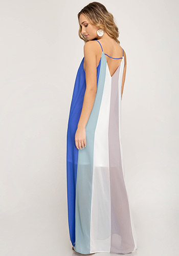 Poolside Bar Maxi dress in Multi Blue - Click Image to Close