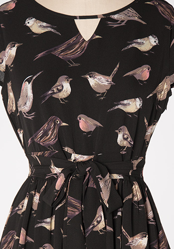 Bird Watching Dress in Black - Click Image to Close