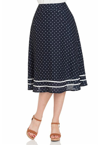RETRO 8: Anchors Midi Skirt in Navy