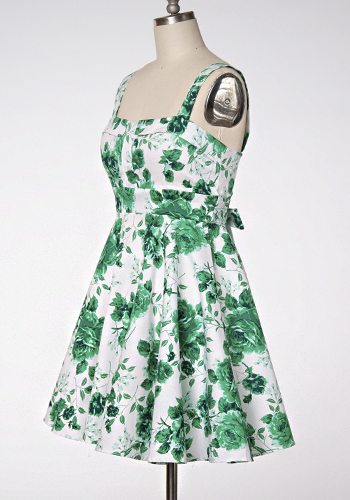 Dolly Dress in Green Floral - Click Image to Close
