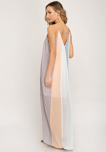 Poolside Bar Maxi dress in Gray/Peach - Click Image to Close
