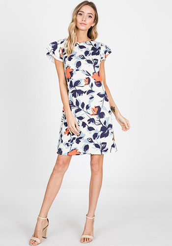 Tea in The Garden Shift Dress in Blue/Orange - Click Image to Close