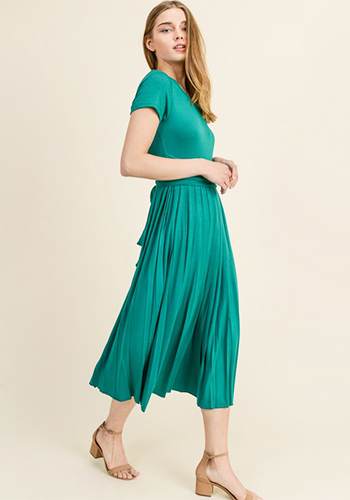 Pleat to Meet You Dress in Green - Click Image to Close