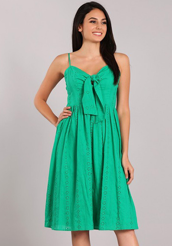 Sunny Weekend Dress in Green Eyelet - Click Image to Close