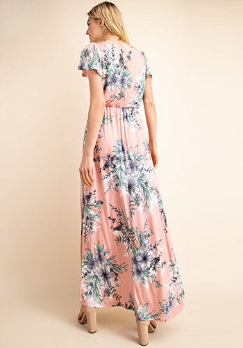 Spring In The City Maxi Dress in Pink Floral - Click Image to Close