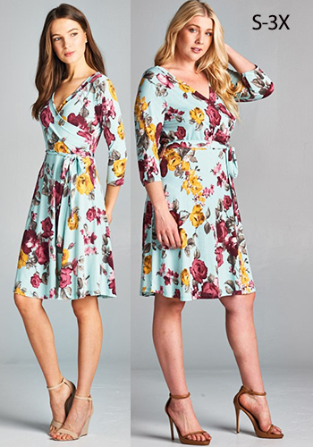 MAY: Shabby Rose Faux Wrap Dress S-3X